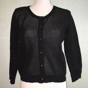 MILLY Sz L Black Open Weave Stretch Cardigan
